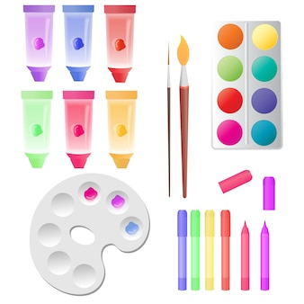 Set for children creativity tubes with paints, watercolor, markers, palette.