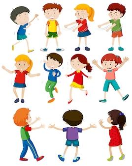 Set of children dancing