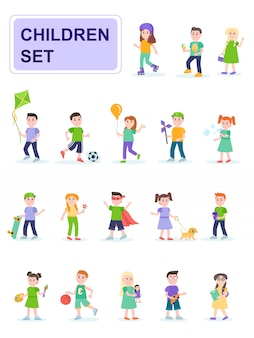 Set of children in different poses and different activities.