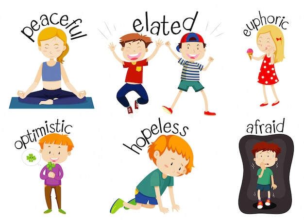 Set of children doing activities with adjectives