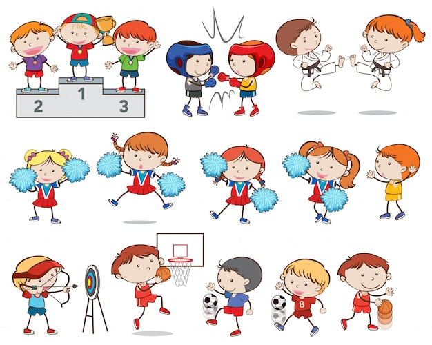 Set of children doing different sports