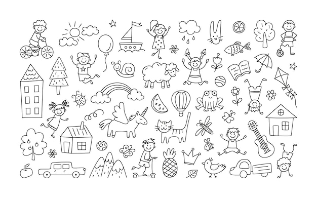 A set of children drawings. kid doodle. children playing and jumping, painted houses, unicorn, cute cat and other black white elements.