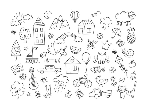 A set of children drawings. kid doodle. sun in the clouds, summer flowers and trees, painted houses, cute cat and other black white elements.