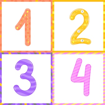 Set children flashcard number tracing learning to count and to write. learning the numbers 0-10