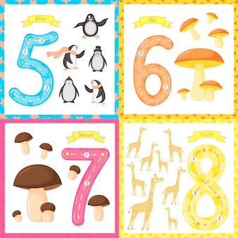 Set children flashcard number tracing learning to count