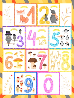 Set children flashcard number tracing