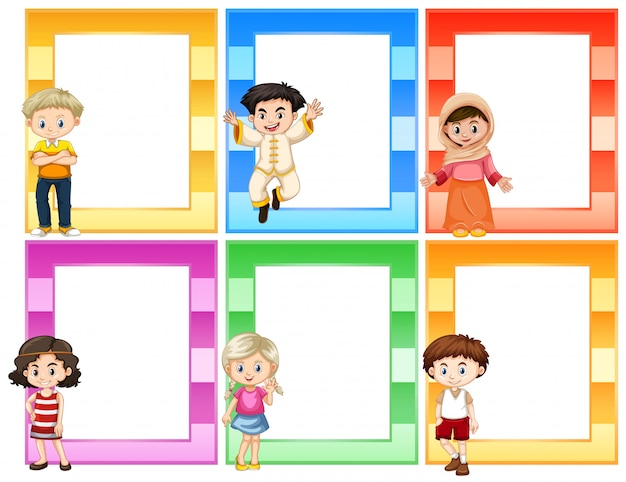 Set of children next to frames concept