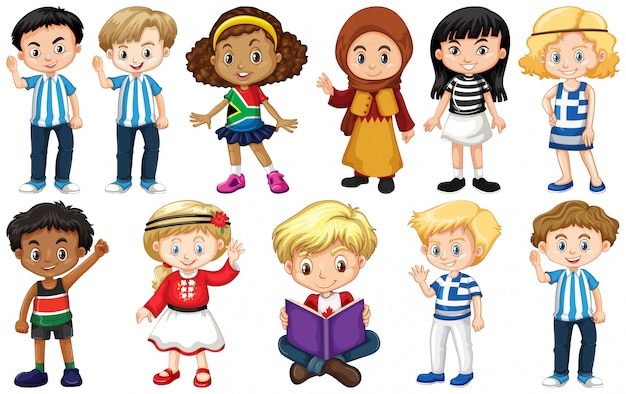 Set of children from different countries