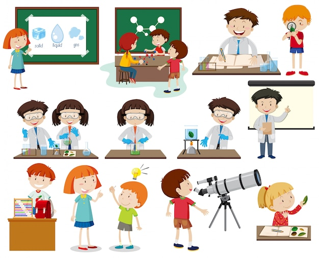 Set of children learning