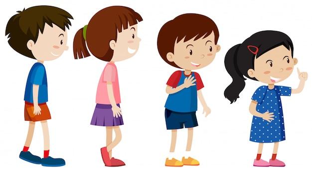 A set of children line up