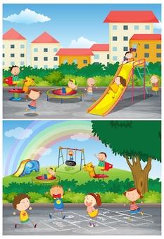 Set di bambini al parco giochi