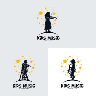 Set of children playing music in the stars
