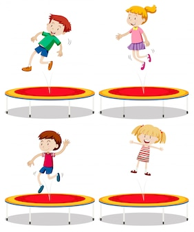 Set of children playing trampoline