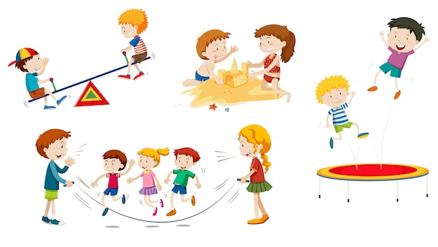 A set of children playing