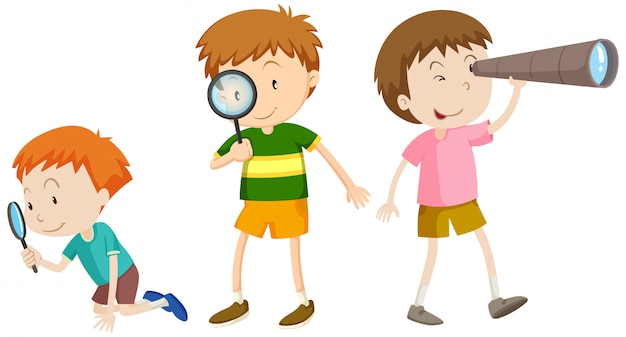 A set of children researching