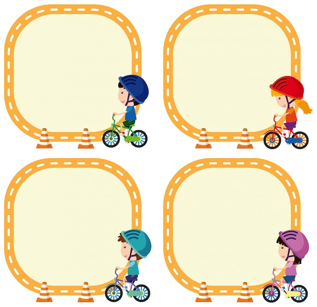 Set of children riding bicycle on note template