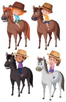 Set of children riding horse