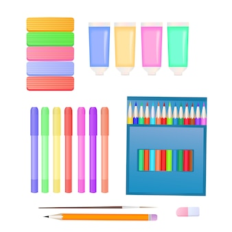 Set for children's creativity: plasticine, markers, paints and colored pencils.