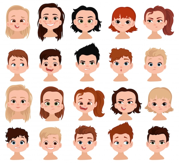 Set of children's faces. сollection of portraits of kids with different emotions.