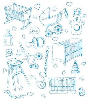 어린이 가구를 설정하십시오. 삽화. 유아용 침대와 유모차에 대해 다르게 스케치하십시오.