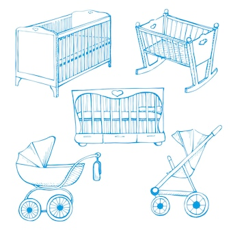 Set children's furniture. sketch different for child cots and prams