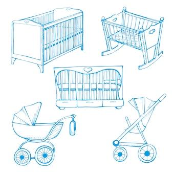 子供用家具をセットします。ベビーベッドと乳母車で異なるスケッチ