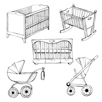 어린이 가구를 설정합니다. 벡터 일러스트 레이 션. 유아용 침대와 유모차에 대해 다른 스케치
