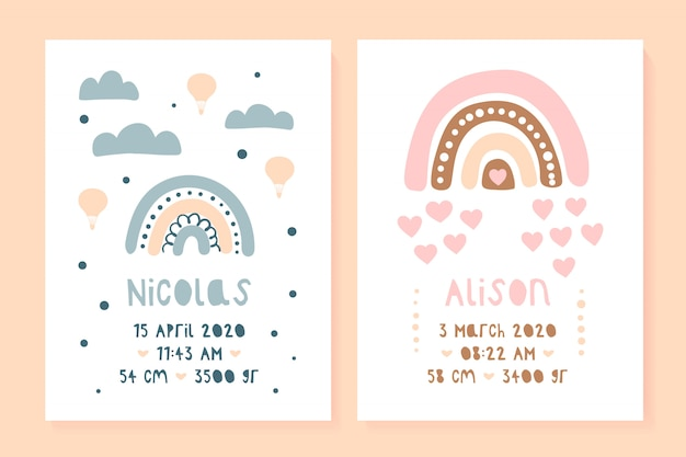 A set of children's posters, height, weight, date of birth. bear, lama. illustration newborn metric for children bedroom.