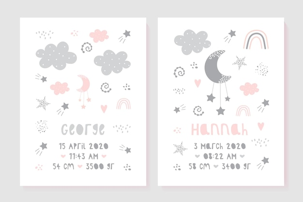A set of children's posters, height, weight, date of birth. illustration newborn metric for children bedroom.