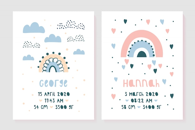 A set of children's posters, height, weight, date of birth.