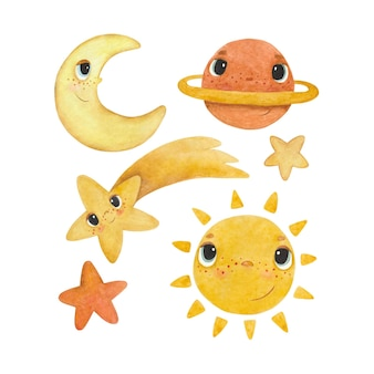 Set of children's watercolor illustrations with the sun, moon and stars