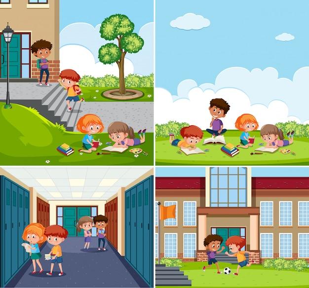Set of children at school scenes
