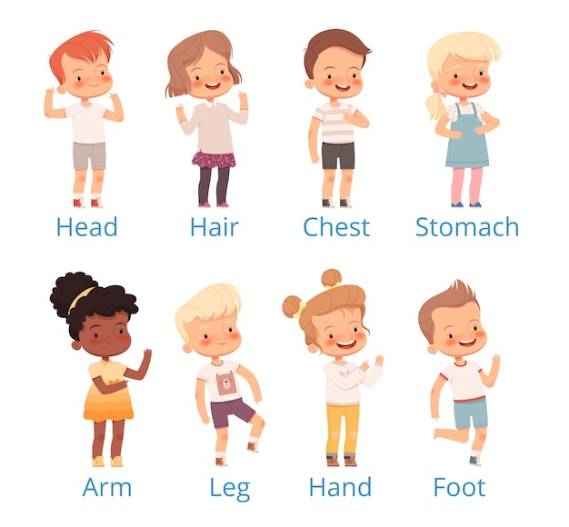 Set children show on different parts of the body with signatures.