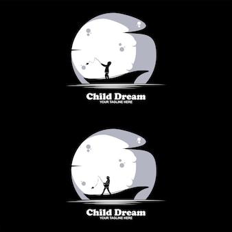Set of children stars logo design concept. reaching dream star logo.