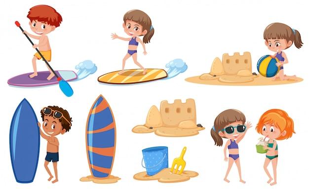 Set of children in summer holiday