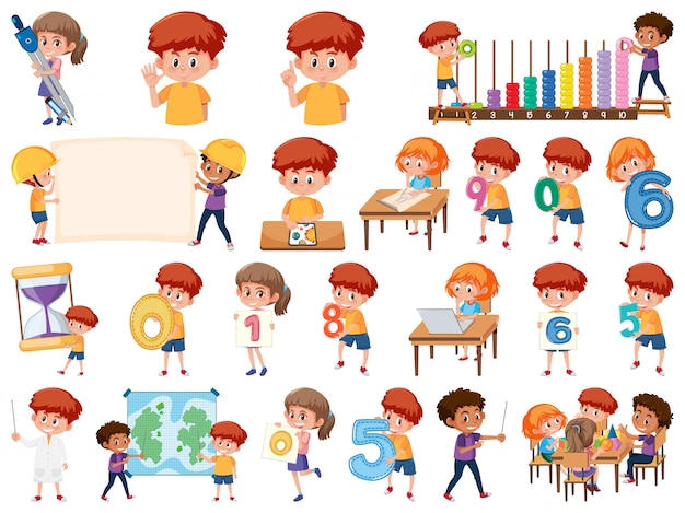 Set of children with education objects