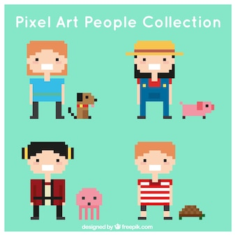 Set of children with pixelated pets