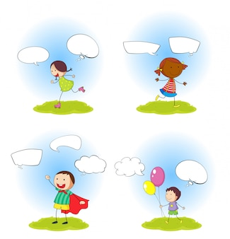 Set of children with speeach balloon