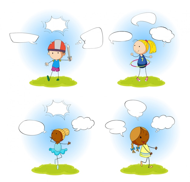 Set of children with speech balloon