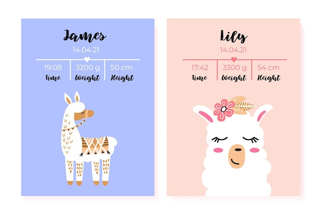 A set of childrens posters height weight date of birth lama