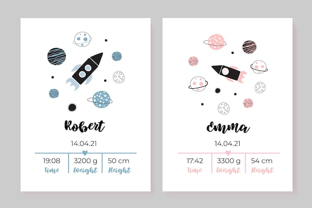 A set of childrens posters height weight date of birth