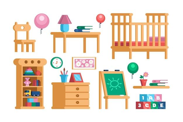 子供部屋のインテリア家具コレクションを設定します。保育園のプレイルームアクセサリーのコンセプト