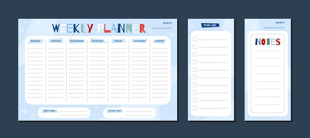 Set childrens weekly planner and todo list pages flat vector illustration