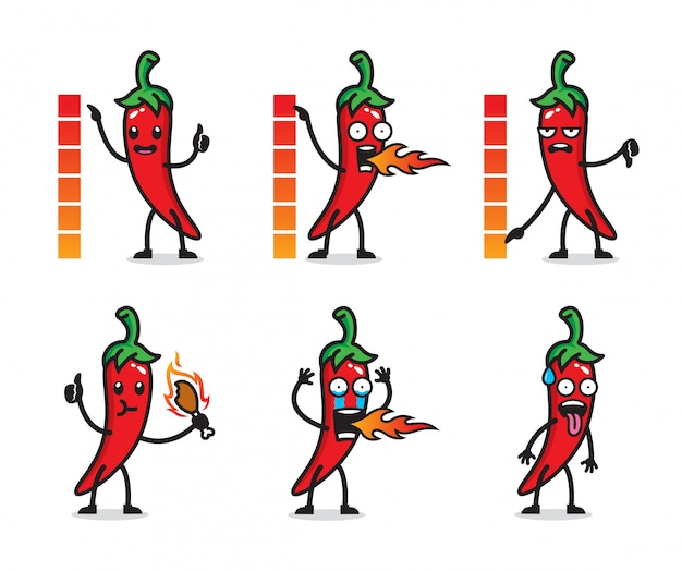Set of chilli character design