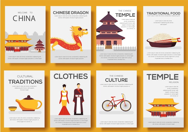 Set of china country ornament travel tour. asian traditional, magazine, poster, abstract, element.