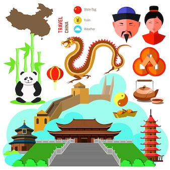 Set of china culture symbols.