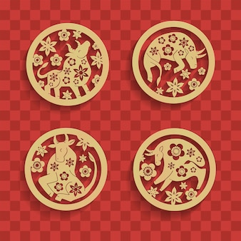 Set of chinese characters zodiac elements, golden bulls in circle with flowers. traditional chinese