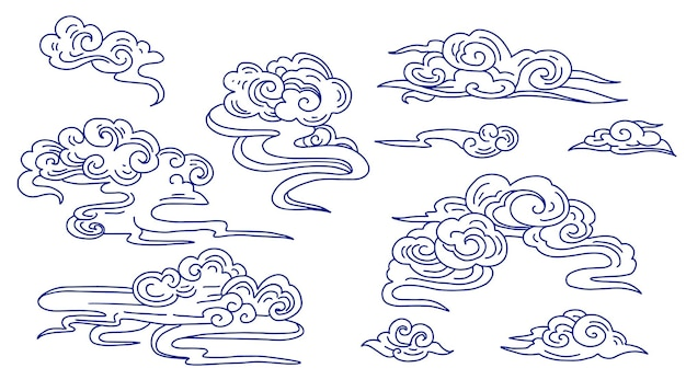 Set of chinese decorative clouds , line art