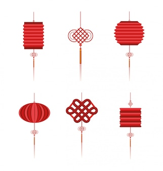 Set chinese lamps tradition decoration