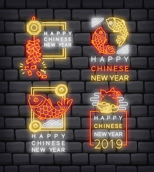 Set of chinese new year greeting badge in neon style vector